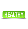 healthy green 3d realistic square isolated button vector image vector image