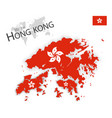 hong kong flag and map vector image