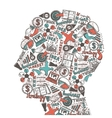 Human head with icons vector image