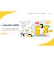 language courses website landing page vector image