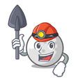 miner golf ball mascot cartoon vector image