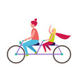 mother and daughter riding bicycle vector image