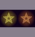 neon yellow and orange star vector image