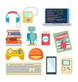 nerd items set geek accessories vector image vector image