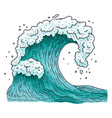 ocean water wave cartoon in vector image