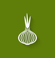 onion icon green background vector image vector image