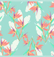pattern with strelitzia and leaves vector image