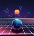 retro vibrant futuristic synth night poster vector image vector image
