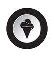 round black and white button - ice cream icon vector image vector image