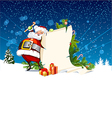 Santa Claus holding a roll of gift vector image