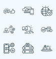 seo icons line style set with likes with comment vector image