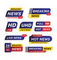 set breaking news banner template designed vector image vector image
