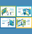 set isometric concepts business training vector image vector image