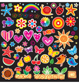set of cheerful sticker vector image