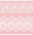 set of lace seamless borders white floral ribbons vector image vector image
