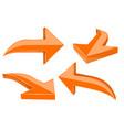 Set of orange 3d shiny arrows