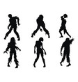 set zombie silhouettes a collection zombies vector image vector image
