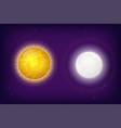 sun and moon planets on background with stars vector image