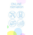 thin line ticket reservation banner vector image