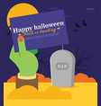 tomb stone zombie hand from ground flat halloween vector image