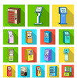 variety of terminals flat icons in set collection vector image