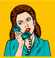 woman with phone pop art style vector image vector image