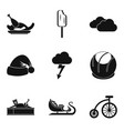 youthfulness icons set simple style vector image