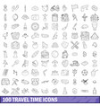 100 travel time icons set outline style vector image vector image