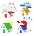 3d houses with weather symbols set vector | Price: 1 Credit (USD $1)