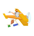 a man in a yellow plane behind vector image
