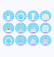 bathroom flat icon set vector image