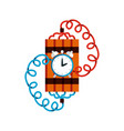 bomb dynamite with timer in flat stile vector image