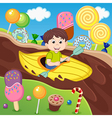boy in canoe floating on chocolate river vector image