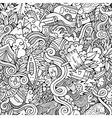 Cartoon doodles camping seamless pattern vector image vector image