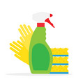 cleaning supplies kitchen sponges and cleaning vector image