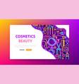 cosmetics beauty neon landing page vector image