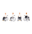 cute happy young man in wheelchair isolated on vector image