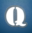 Denim jeans letter Q vector image vector image