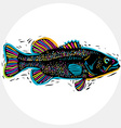 drawing of freshwater fish with fins underwater vector image vector image