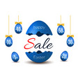 easter egg text sale happy easter broken egg 3d vector image