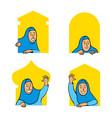 female moslem comic cartoon character peeping in vector image vector image