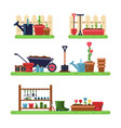 gardens landscape with different furniture summer vector image