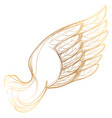 golden wing isolated on white background design vector image vector image