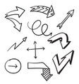 hand drawn arrows collection with lie art style vector image vector image