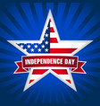 independence day usa star ribbon dark blue vector image