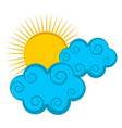 isolated sun with clouds vector image