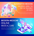 isometry concept types medical services banners vector image