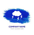 lightening cloud icon - blue watercolor background vector image