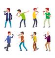 male musicians man singing songs people dancing vector image