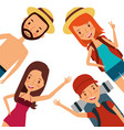 men and women happy tourist travel vacation vector image